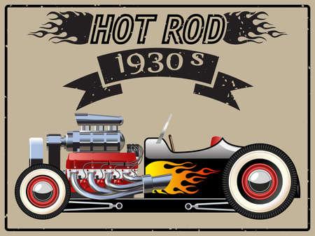 Una illustrazione vettoriale di un hot rod epoca. Archivio Fotografico - 52025127