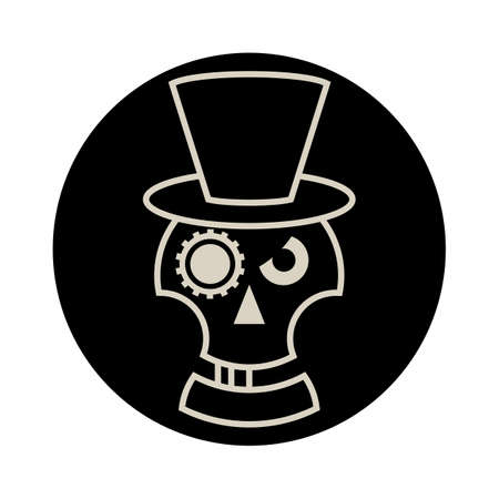 brigand: Skull in Hat cylindre .Steampunk emblem. Isolated on white