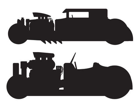 antique fire truck: A vector illustration of a vintage hot rod silhouette
