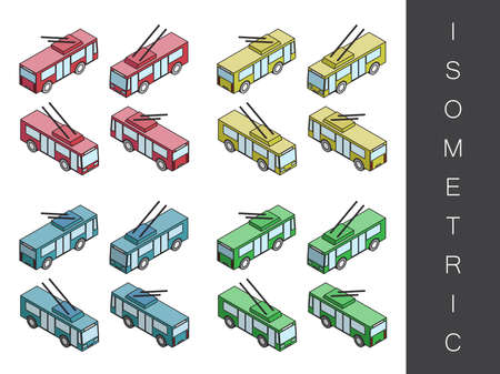 front end: Flat 3d isometric city transport icon set. Front end rear view