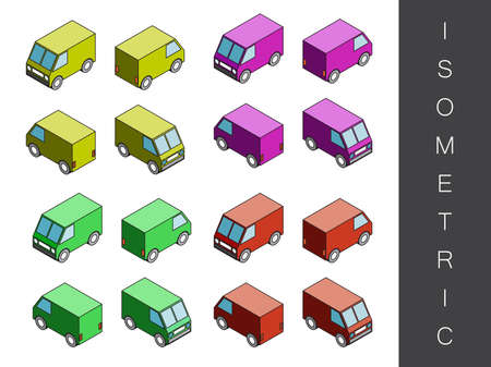 rear end: Flat 3d isometric transport icon set. Front end rear view Illustration