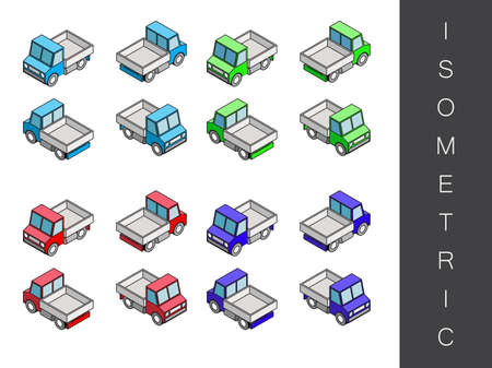 front end: Flat 3d isometric transport icon set. Front end rear view Illustration