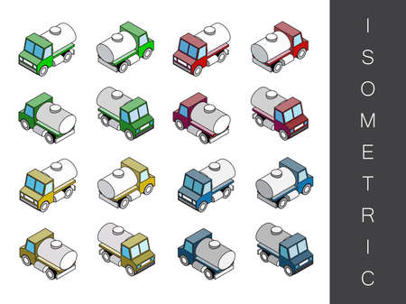 rear view: Flat 3d isometric transport icon set. Front end rear view Illustration