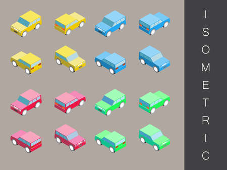 Flat 3d isometric transport icon set. Front end rear view Illustration