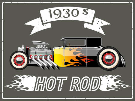 antique fire truck: A vector illustration of a vintage hot rod.