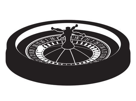 luck wheel: Casino roulette wheel silhouette. Vector illustration. Clip art