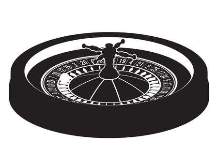 fortune: Casino roulette wheel silhouette. Vector illustration. Clip art
