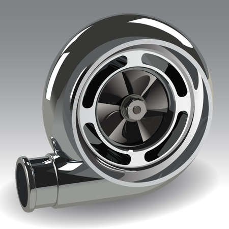 Automobil-Turbolader Auto Turbine für Auto. Photorealistic Vektor-Illustration. Clip Art. Vektorgrafik