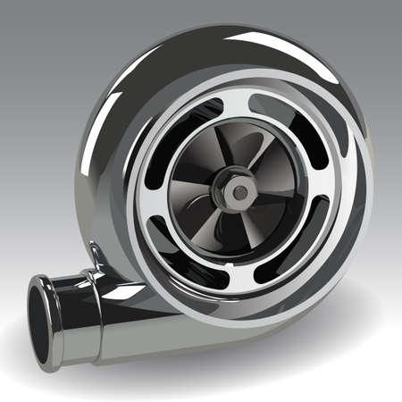 turbocharger: Automotive turbocharger of car Turbine for auto. Photorealistic vector illustration. Clip art.