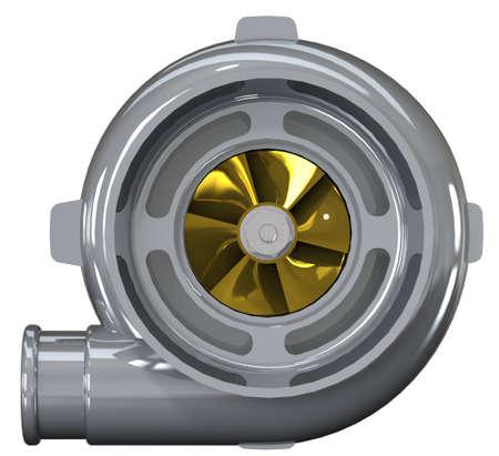 turbocharger: Automotive turbocharger of car Turbine for auto. Photorealistic illustration. Clip art. Stock Photo