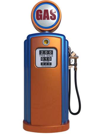 Retro benzinepomp op een witte achtergrond