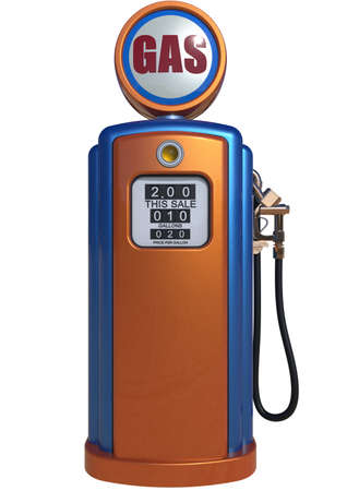old service station: Retro gas pump isolated on white background Stock Photo