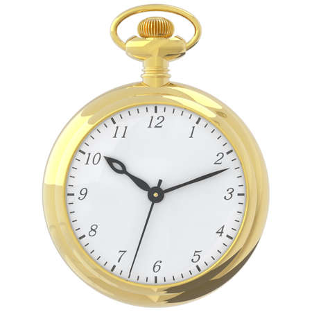 Antique pocket watch isolated on a white background. 3D render Stock Photo
