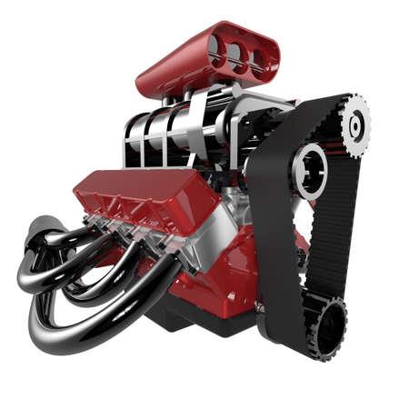 v8: Hot rod V8 Engine Isolated on White. 3D render