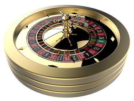 rueda de la fortuna: la ruleta del casino aislado en blanco. 3D rinden Foto de archivo