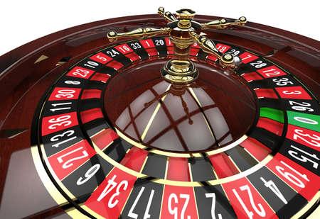 カジノのルーレットのホイールをクローズ アップ。3 D のレンダリング 写真素材