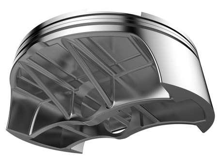 chromed: 3D render chromed piston. Detail of automobile engine. Stock Photo
