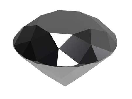 diamante negro: Gema de diamante negro sobre fondo blanco. 3D rinden