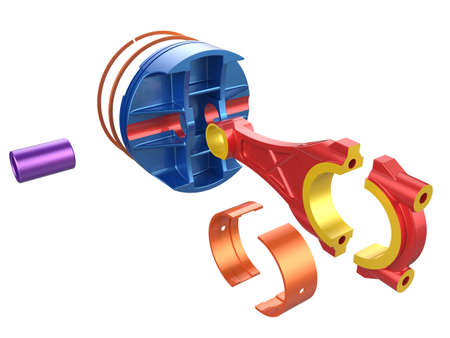 connecting rod: 3D render piston. Detail of automobile engine.