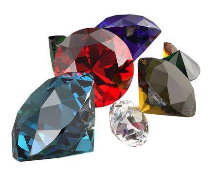 diamante negro: Las piedras preciosas aisladas sobre fondo blanco. 3D rinden