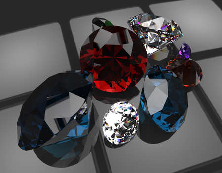 3D render of different gemstones. Close up Stock Photo