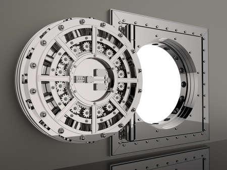 turn dial: Render of the bank vault door 3D