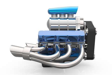 Moteur V8 Hot rod isolé sur blanc. Rendu 3D Banque d'images - 60912309