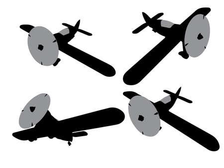propeller plane icons set. Clip art Illustration
