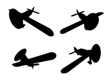 aero: propeller plane icons set. Clip art Illustration