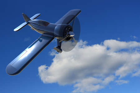 small plane: Propeller small plane against the sky. 3D render