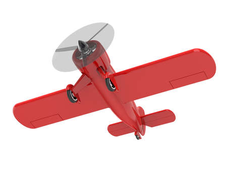 Propeller small plane isolated on white. 3D render