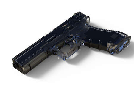 9mm isolated pistol on white background. 3D render Stock Photo