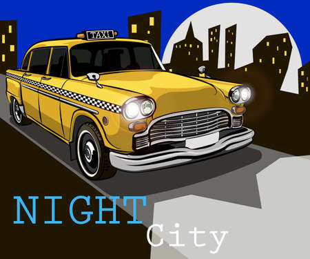 Taxi on the background of night city. Vector illustration