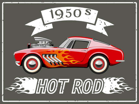 A vector illustration of a vintage hot rod.