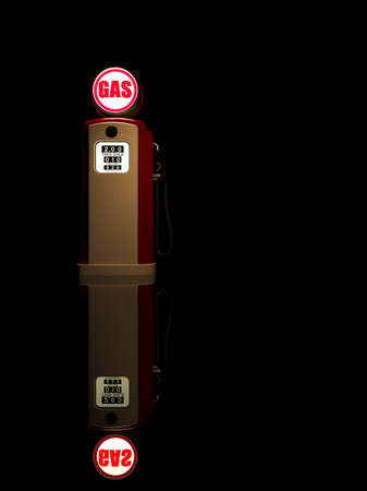 old service station: Retro gas pump isolated on black background 3D render