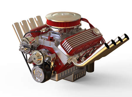 Hot rod V8 Engine Isolated on White. 3D render