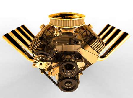 Hot rod V8 Engine Isolated on White. 3D render