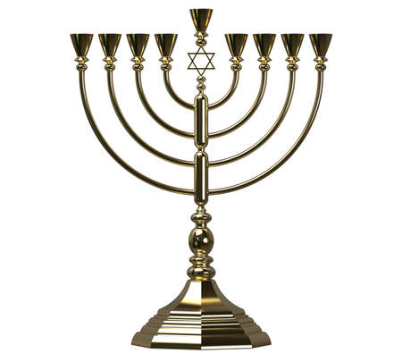 Menorah Hanukkah lamp which is lit during the eight days of Hanukkah. 3D render. Isolated Standard-Bild