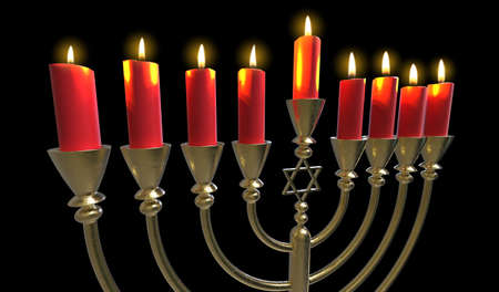 Menorah Hanukkah lamp which is lit during the eight days of Hanukkah. 3D render. Isolated Stock Photo