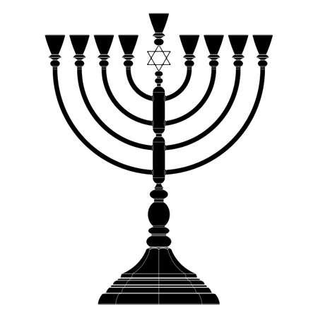 judaic: Menorah Hanukkah lamp which is lit during the eight days of Hanukkah. Vector