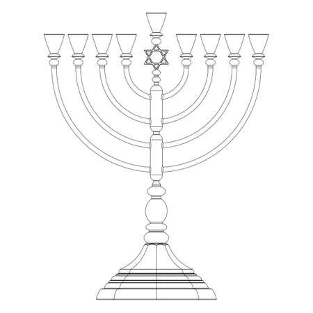 menora: Menorah Hanukkah lamp which is lit during the eight days of Hanukkah. Vector
