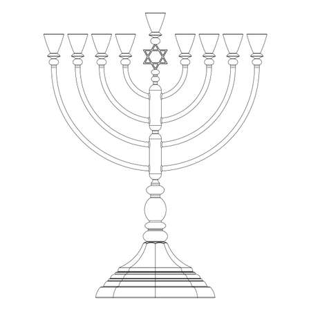 Menorah Hanukkah lamp which is lit during the eight days of Hanukkah. Vector