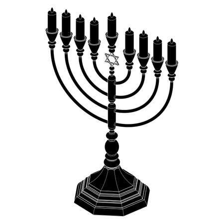 Menorah Hanukkah lamp which is lit during the eight days of Hanukkah. Vector