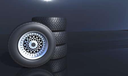 aluminium background: Car wheels aluminium disk background. 3D render