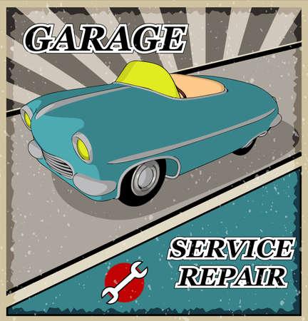 retro: Vintage blue retro car. Illustration
