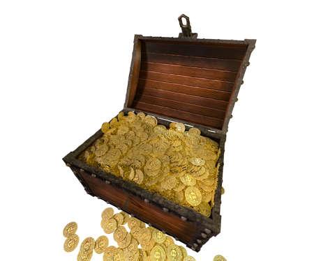 worthy: Pirate treasure chest. 3D render.