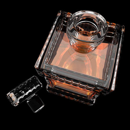 BARWARE: Decanter with whiskey.3D render