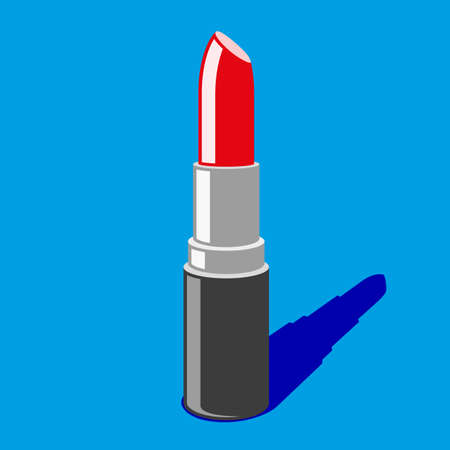Red lipstick isolated on blue background. vector Stock Vector - 72670309