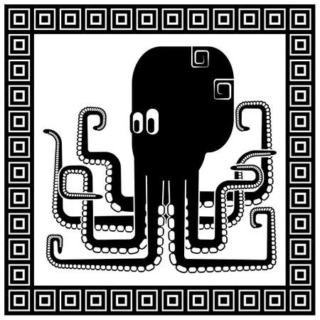 devilfish: Stylized silhouette of an octopus