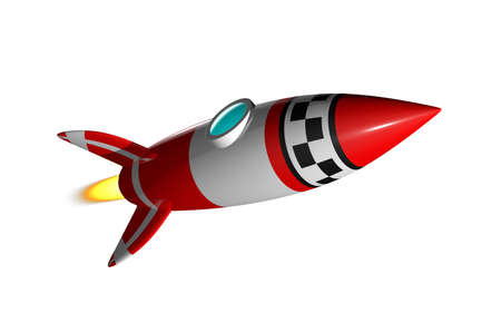 Rocket 3D render Stock Photo